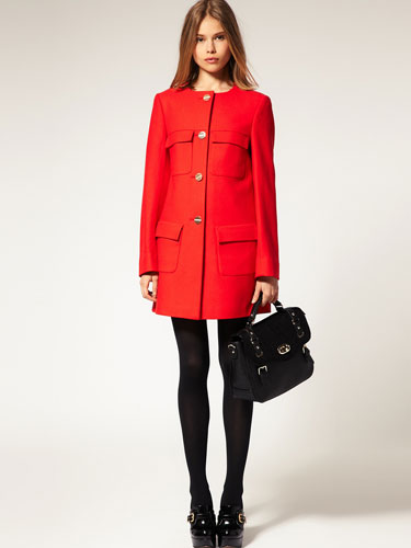 ASOS Minimal Red Coat with Gold-colored Buttons