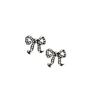 Rhinestone Bow Earring Studs